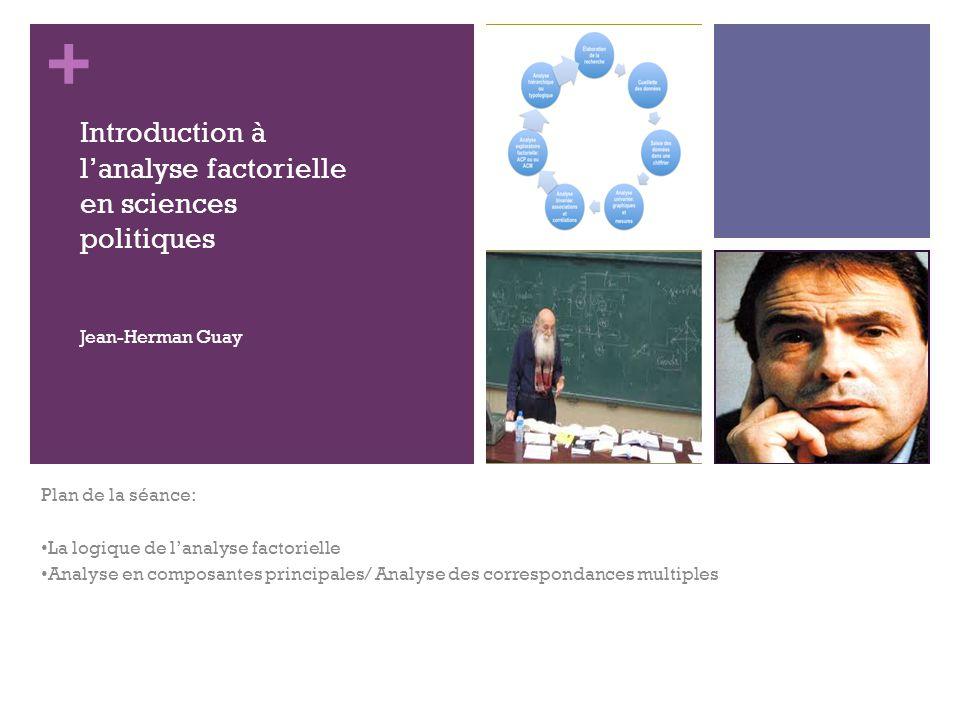 + Plan de la séance: La logique de lanalyse factorielle Analyse en composantes principales/ Analyse des correspondances multiples Introduction à lanalyse factorielle en sciences politiques Jean-Herman Guay