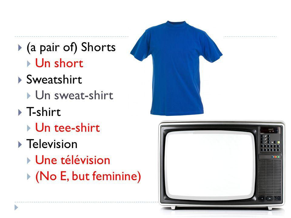 (a pair of) Shorts Un short Sweatshirt Un sweat-shirt T-shirt Un tee-shirt Television Une télévision (No E, but feminine)