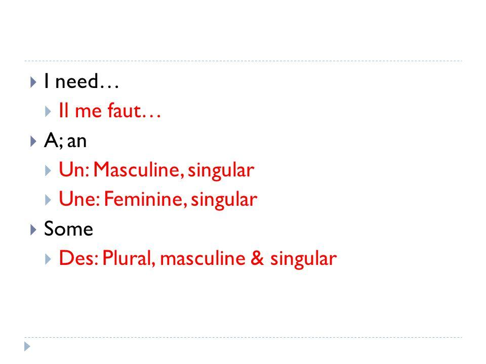 I need… Il me faut… A; an Un: Masculine, singular Une: Feminine, singular Some Des: Plural, masculine & singular