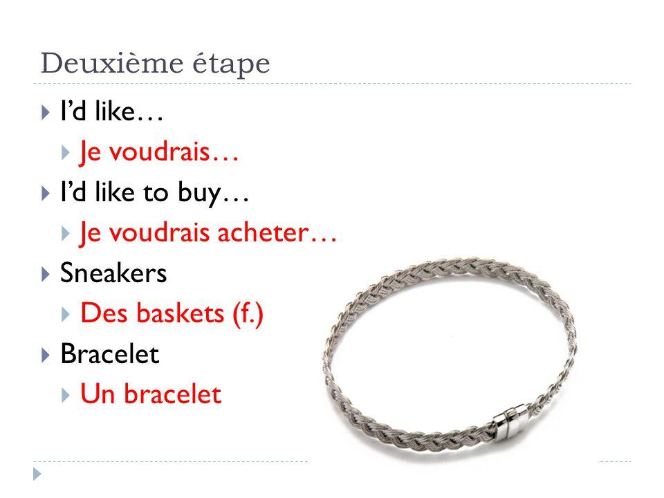 Deuxième étape Id like… Je voudrais… Id like to buy… Je voudrais acheter… Sneakers Des baskets (f.) Bracelet Un bracelet