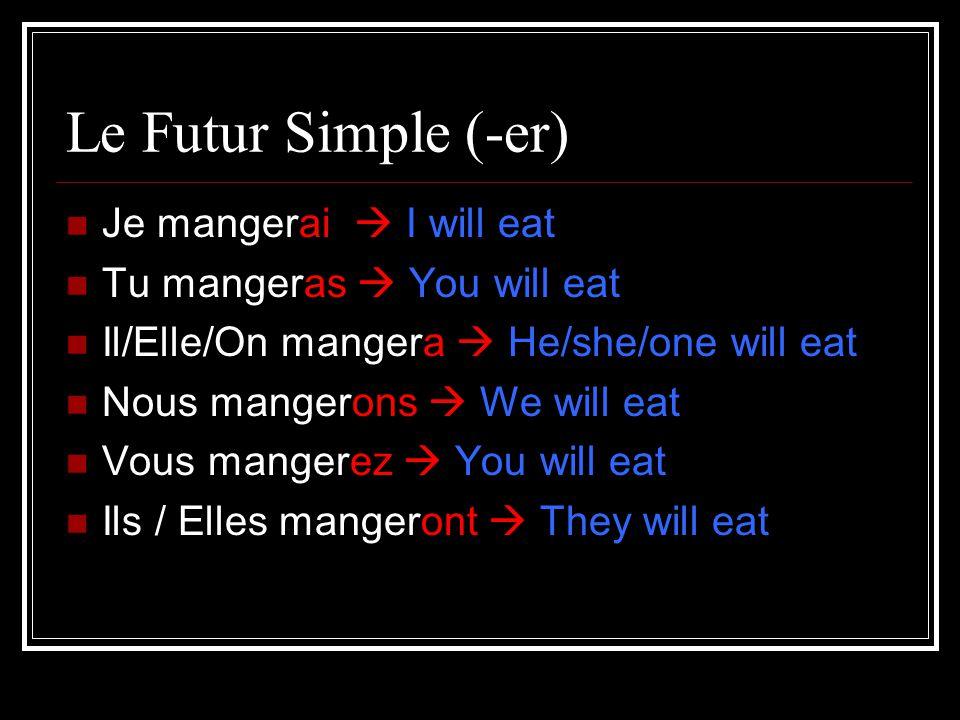 Le Futur Simple (-er) Je mangerai I will eat Tu mangeras You will eat Il/Elle/On mangera He/she/one will eat Nous mangerons We will eat Vous mangerez You will eat Ils / Elles mangeront They will eat