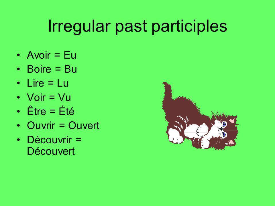 Irregular past participles Avoir = Eu Boire = Bu Lire = Lu Voir = Vu Être = Été Ouvrir = Ouvert Découvrir = Découvert