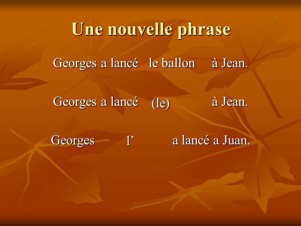 Une nouvelle phrase Georges a lancé à Jean. Georges a lancé a Juan. le ballon (le) l