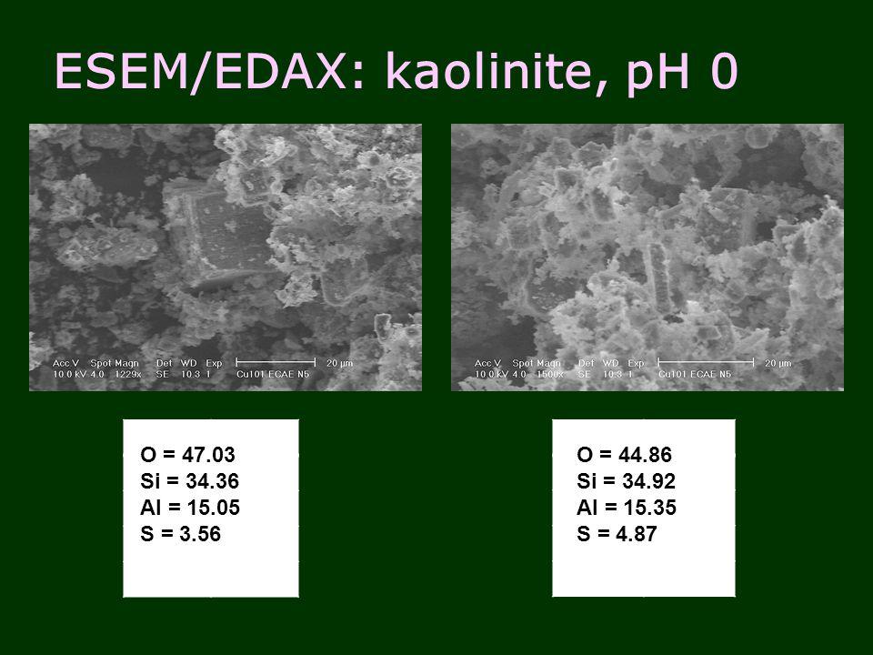 ESEM/EDAX: kaolinite, pH 0 O = 47.03 Si = 34.36 Al = 15.05 S = 3.56 O = 44.86 Si = 34.92 Al = 15.35 S = 4.87