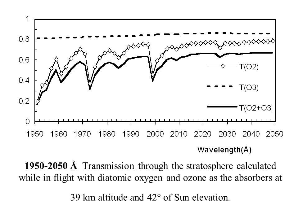 1950-2050 Å Transmission through the stratosphere calculated while in flight with diatomic oxygen and ozone as the absorbers at 39 km altitude and 42° of Sun elevation.