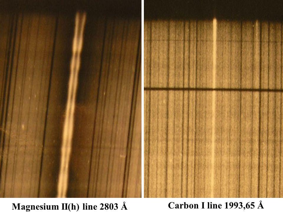 Magnesium II(h) line 2803 Å Carbon I line 1993,65 Å