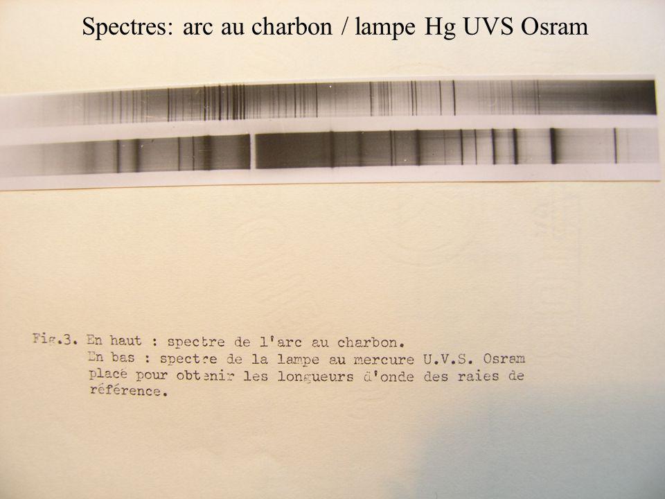 Spectres: arc au charbon / lampe Hg UVS Osram