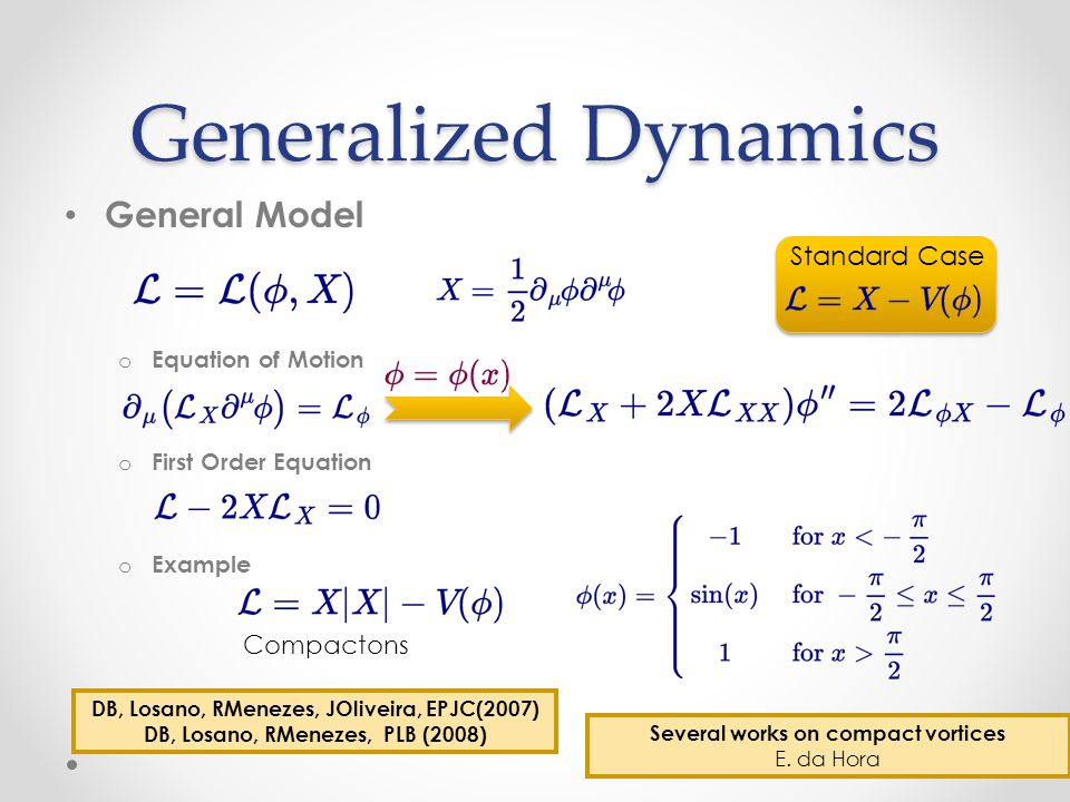 Generalized Dynamics General Model o Equation of Motion o First Order Equation o Example Standard Case Compactons DB, Losano, RMenezes, JOliveira, EPJC(2007) DB, Losano, RMenezes, PLB (2008) Several works on compact vortices E.