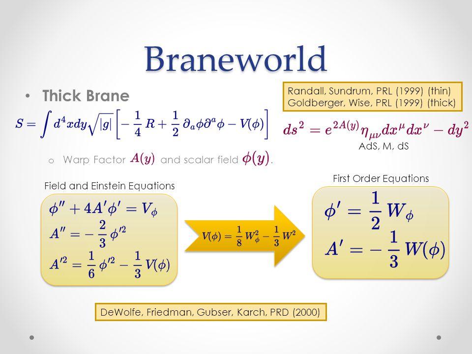 Braneworld Thick Brane o Warp Factor and scalar field.
