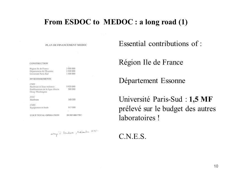 From ESDOC to MEDOC : a long road (1) 10 Essential contributions of : Région Ile de France Département Essonne Université Paris-Sud : 1,5 MF prélevé s