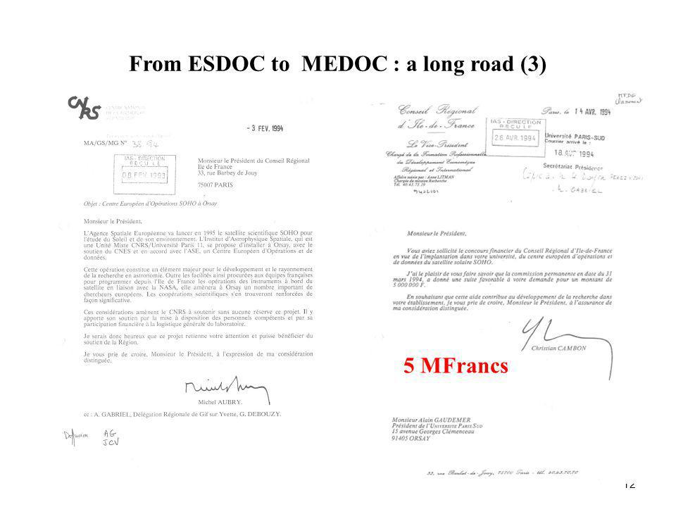 From ESDOC to MEDOC : a long road (3) 12 5 MFrancs