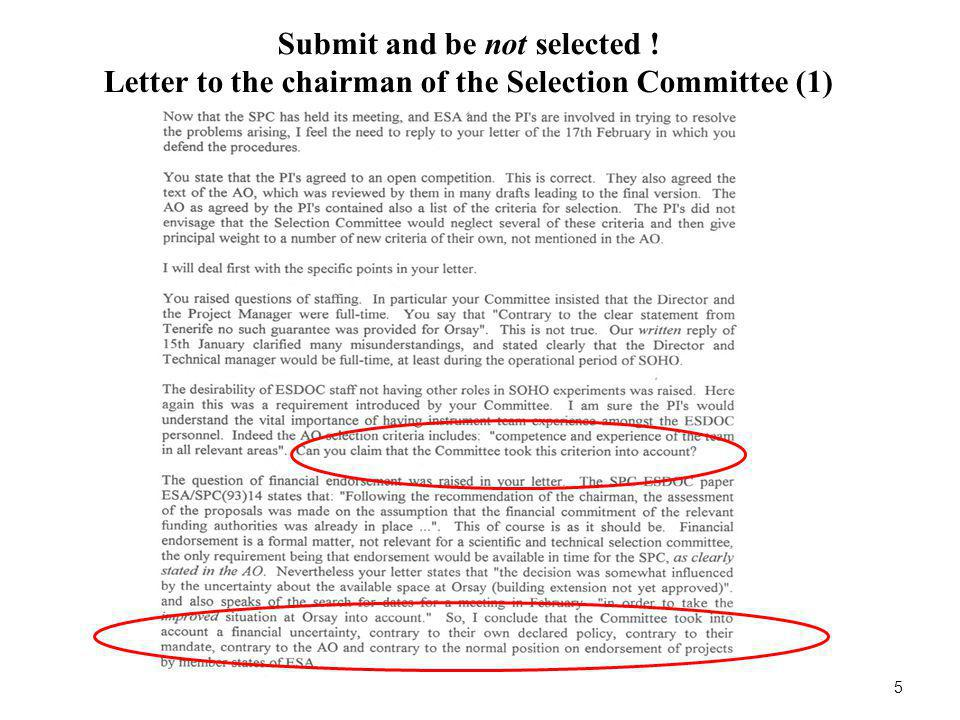 Submit and be not selected ! Letter to the chairman of the Selection Committee (2) 6