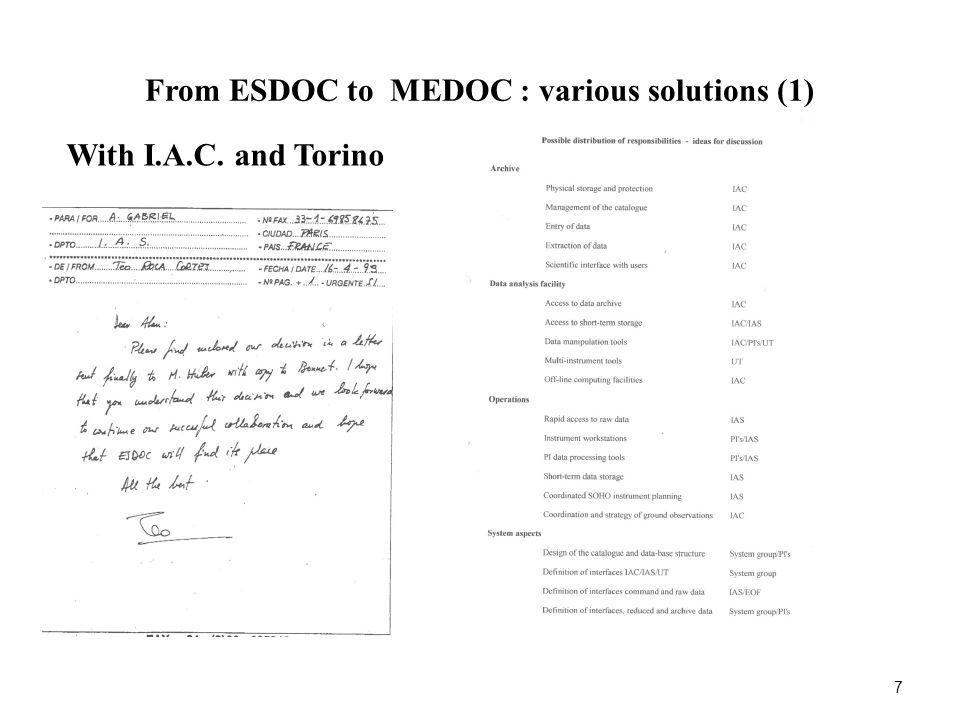 MEDOC: today 18 SOHO : Receiving the full TM Operations of GOLF, SUMER and CDS as long as SUMER was fully operationnal Campaigns Workshops Database Archive SOHO, TRACE, CORONAS, STEREO and now SDO database Data analysis software : FESTIVAL, UV Atlas, Solar Wind code, Radiative transfer code, Maps of DEM, …