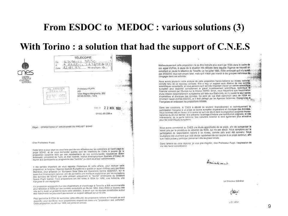 From ESDOC to MEDOC : various solutions (3) 9 With Torino : a solution that had the support of C.N.E.S