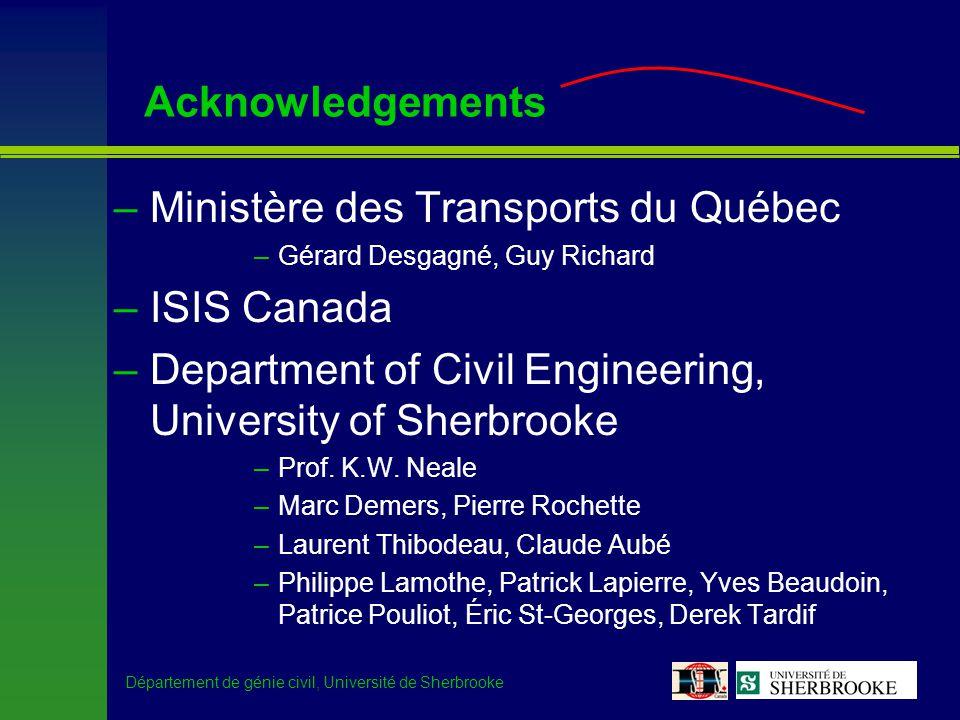 Département de génie civil, Université de Sherbrooke Acknowledgements –Ministère des Transports du Québec –Gérard Desgagné, Guy Richard –ISIS Canada –Department of Civil Engineering, University of Sherbrooke –Prof.