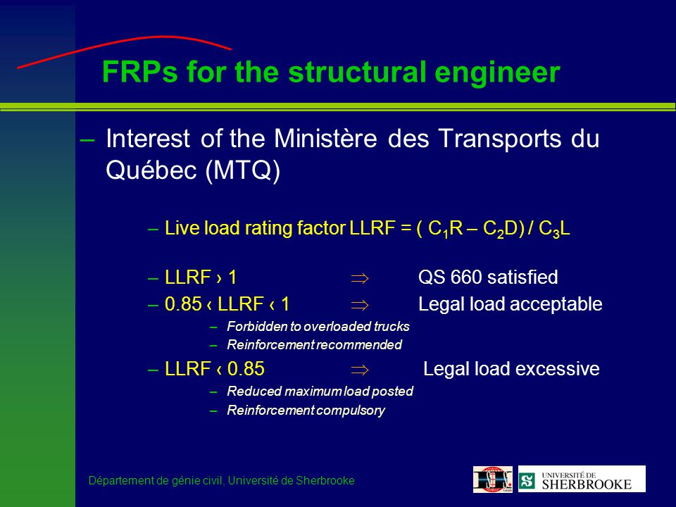 Département de génie civil, Université de Sherbrooke FRPs for the structural engineer –Interest of the Ministère des Transports du Québec (MTQ) –Live