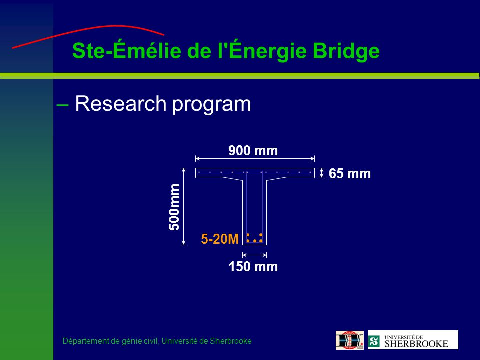 Département de génie civil, Université de Sherbrooke Ste-Émélie de l'Énergie Bridge –Research program 900 mm 500mm 65 mm 150 mm 5-20M