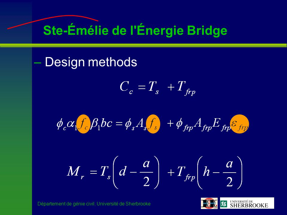 Département de génie civil, Université de Sherbrooke Ste-Émélie de l'Énergie Bridge –Design methods