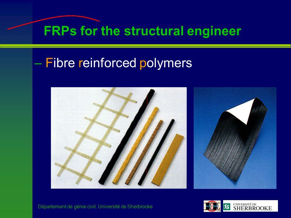 Département de génie civil, Université de Sherbrooke FRPs for the structural engineer –Stress-strain curves f frpu E frp Fibre (glass or carbon) Matrix (epoxy or vinylester) Strain Stress