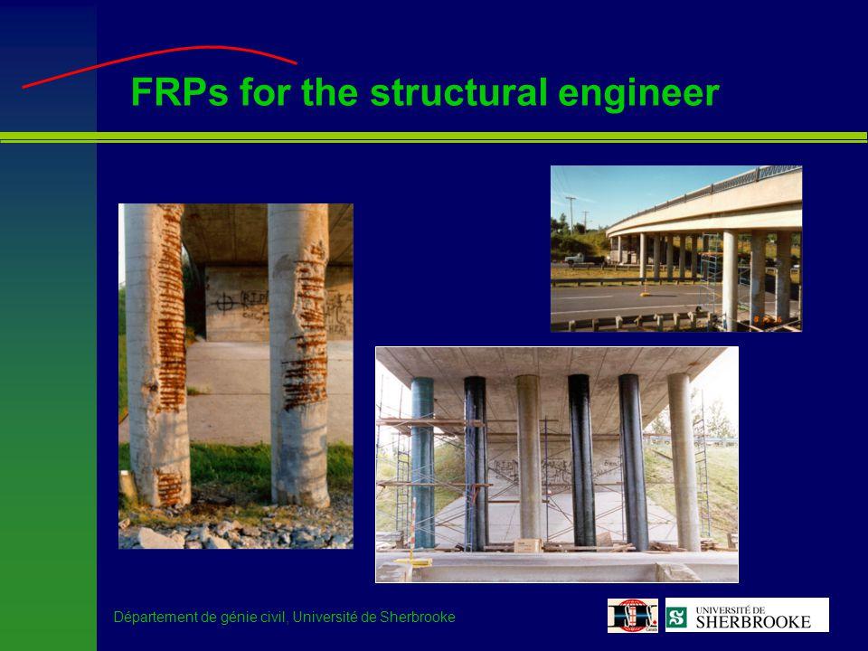 Département de génie civil, Université de Sherbrooke FRPs for the structural engineer