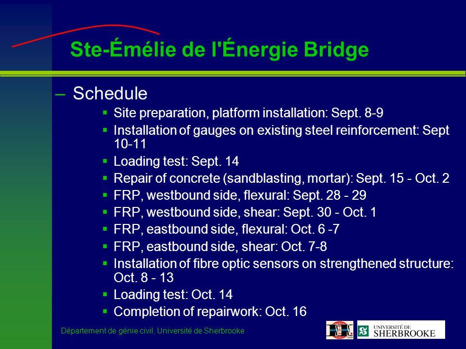 Département de génie civil, Université de Sherbrooke Ste-Émélie de l Énergie Bridge –Schedule Site preparation, platform installation: Sept.