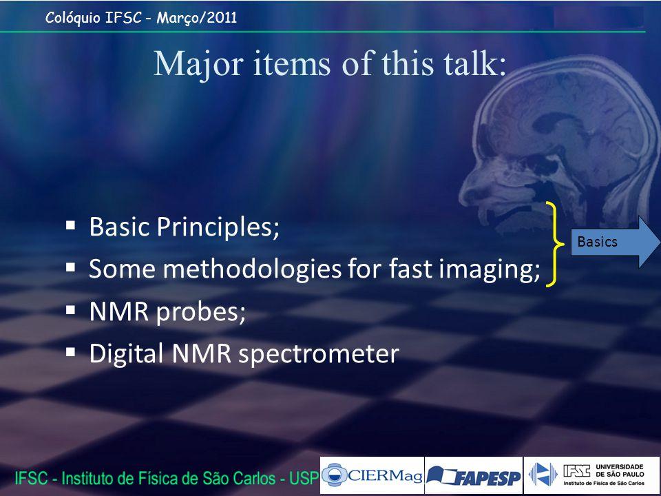 Major items of this talk: Basic Principles; Some methodologies for fast imaging; NMR probes; Digital NMR spectrometer Basics
