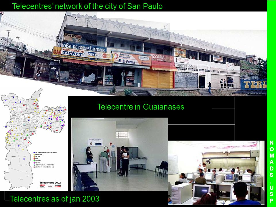 NOMADS.USPNOMADS.USP Telecentres network of the city of San Paulo Telecentre in Guaianases Telecentres as of jan 2003
