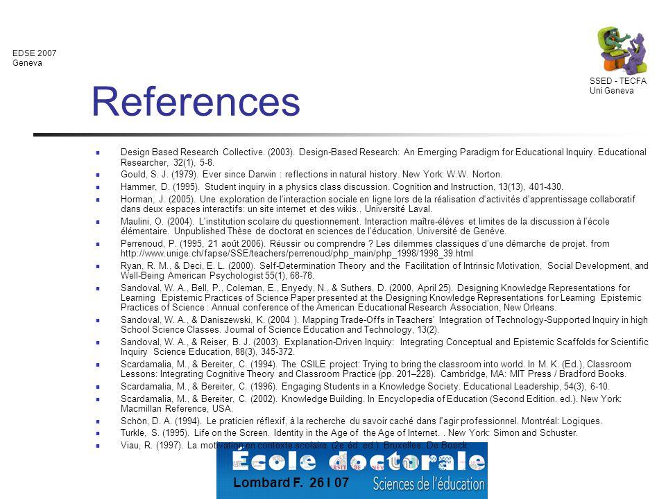 EDSE 2007 Geneva SSED - TECFA Uni Geneva Lombard F.