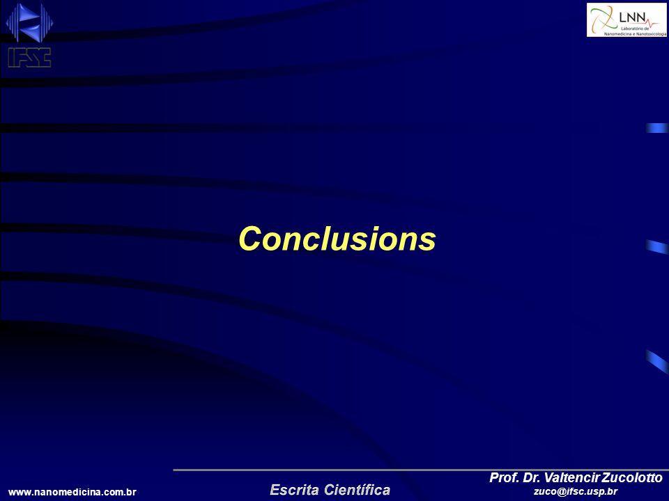 www.nanomedicina.com.br Prof. Dr. Valtencir Zucolotto zuco@ifsc.usp.br Conclusions