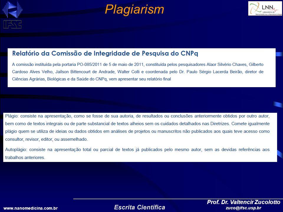 www.nanomedicina.com.br Prof. Dr. Valtencir Zucolotto zuco@ifsc.usp.br Plagiarism