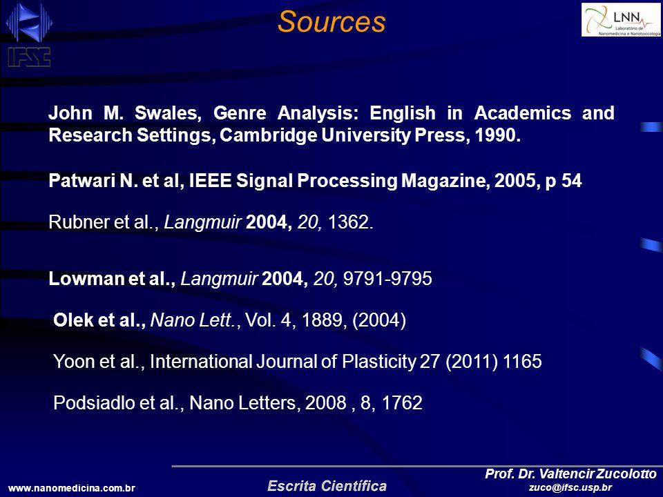 www.nanomedicina.com.br Prof. Dr. Valtencir Zucolotto zuco@ifsc.usp.br Sources John M.