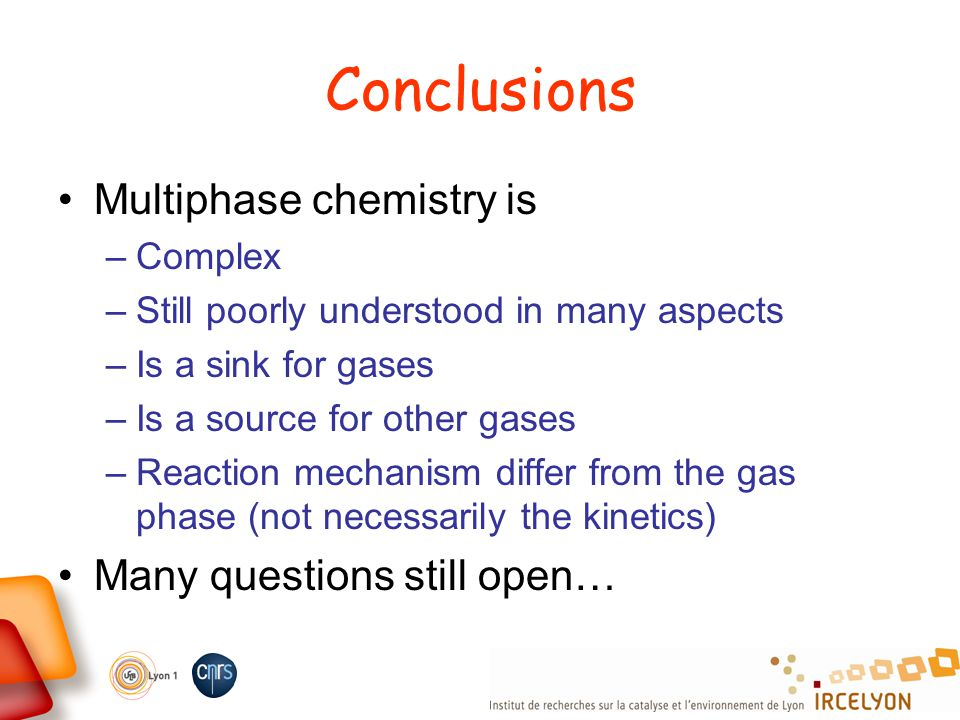 Conclusions Multiphase chemistry is –Complex –Still poorly understood in many aspects –Is a sink for gases –Is a source for other gases –Reaction mech