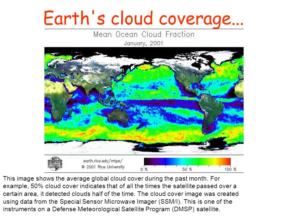 Earth's cloud coverage... This image shows the average global cloud cover during the past month. For example, 50% cloud cover indicates that of all th