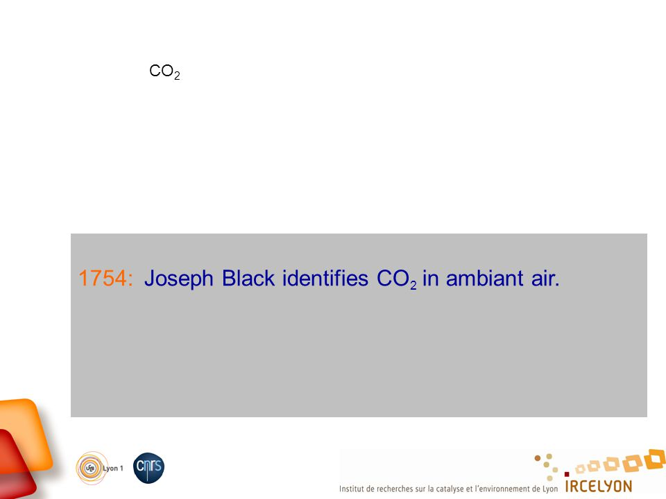 1754:Joseph Black identifies CO 2 in ambiant air. CO 2