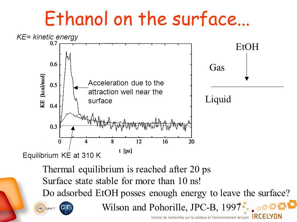 Ethanol on the surface... KE= kinetic energy Equilibrium KE at 310 K Acceleration due to the attraction well near the surface Thermal equilibrium is r
