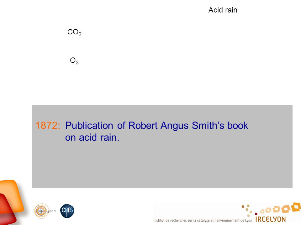1872:Publication of Robert Angus Smiths book on acid rain. CO 2 O3O3 Acid rain