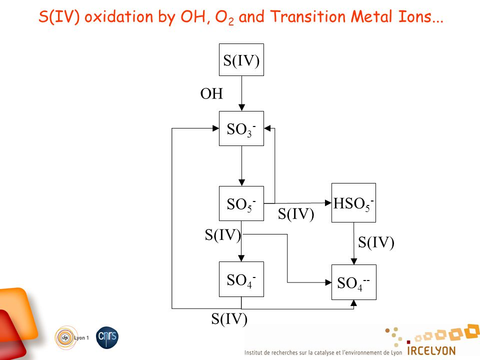 S(IV) oxidation by OH, O 2 and Transition Metal Ions... SO 3 - S(IV) OH SO 5 - S(IV) HSO 5 - S(IV) SO 4 -- S(IV) SO 4 - S(IV)