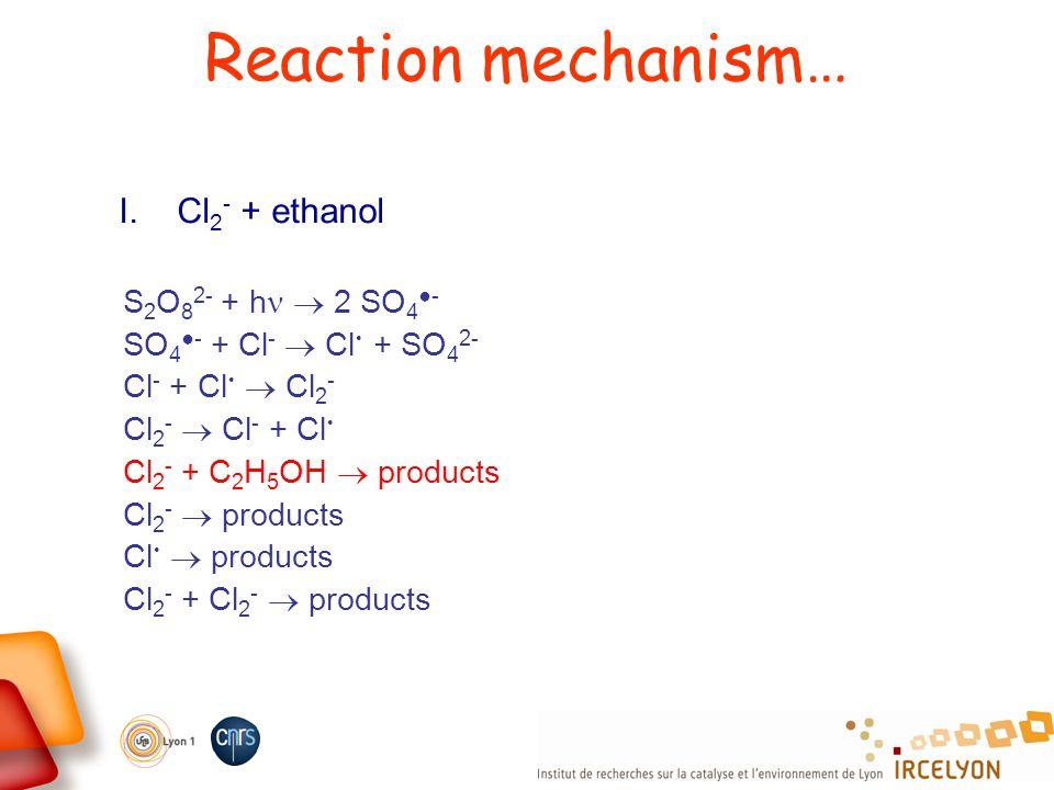 Reaction mechanism… I. Cl 2 - + ethanol S 2 O 8 2- + h 2 SO 4 - SO 4 - + Cl - Cl + SO 4 2- Cl - + Cl Cl 2 - Cl 2 - Cl - + Cl Cl 2 - + C 2 H 5 OH produ