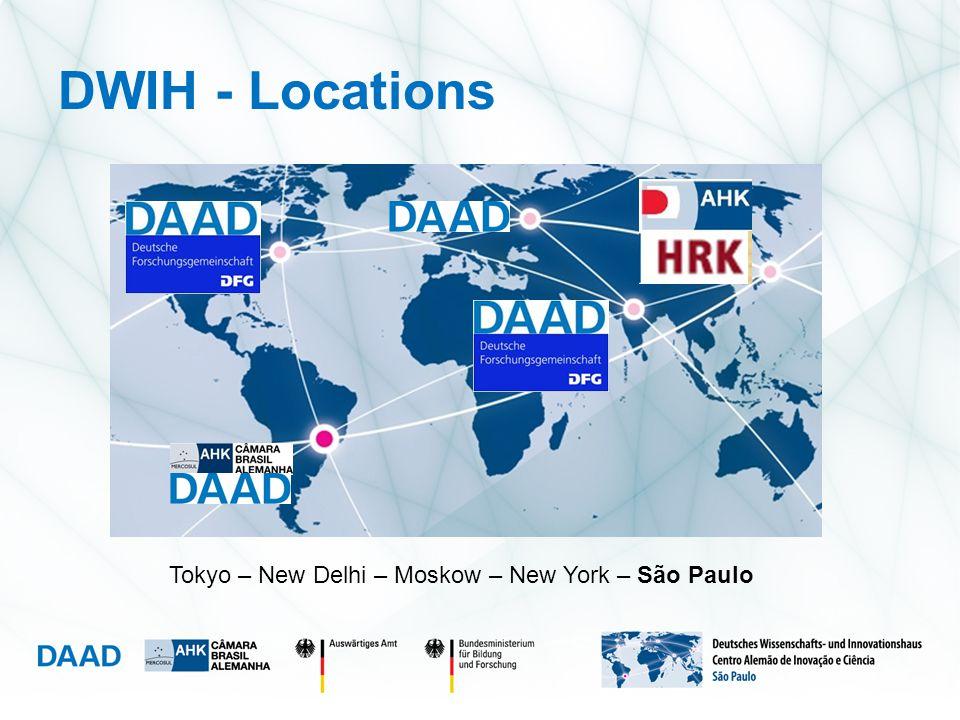 DWIH - Locations Tokyo – New Delhi – Moskow – New York – São Paulo