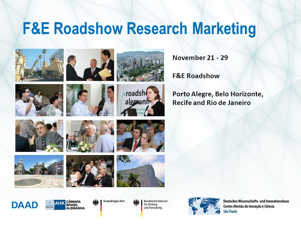 November 21 - 29 F&E Roadshow Porto Alegre, Belo Horizonte, Recife and Rio de Janeiro F&E Roadshow Research Marketing