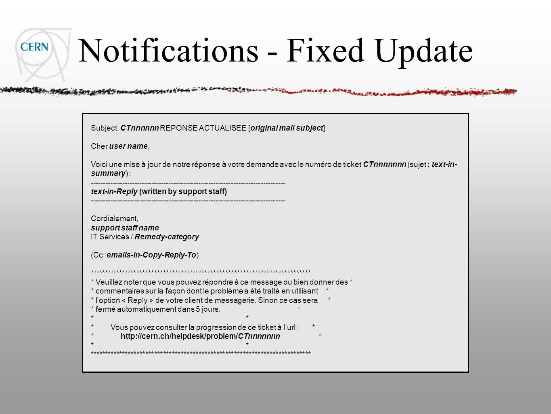 Notifications - Fixed Update Subject: CTnnnnnn REPONSE ACTUALISEE [original mail subject] Cher user name, Voici une mise à jour de notre réponse à vot