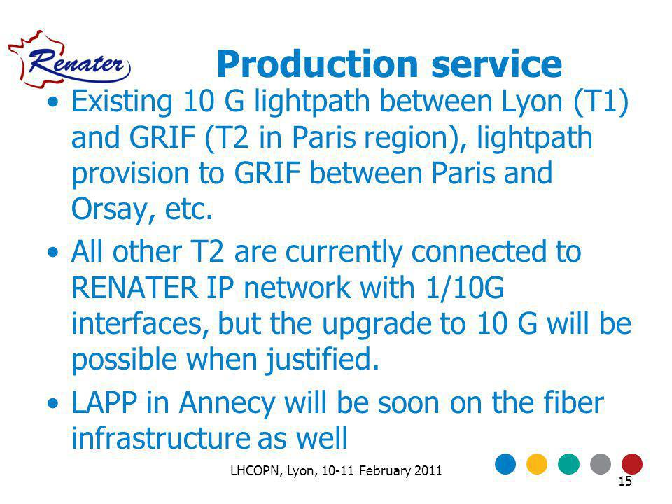 Production service Existing 10 G lightpath between Lyon (T1) and GRIF (T2 in Paris region), lightpath provision to GRIF between Paris and Orsay, etc.