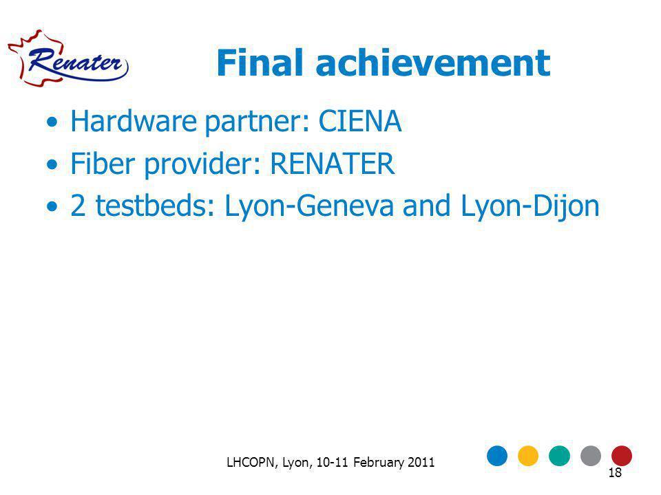 Final achievement Hardware partner: CIENA Fiber provider: RENATER 2 testbeds: Lyon-Geneva and Lyon-Dijon 18 LHCOPN, Lyon, 10-11 February 2011