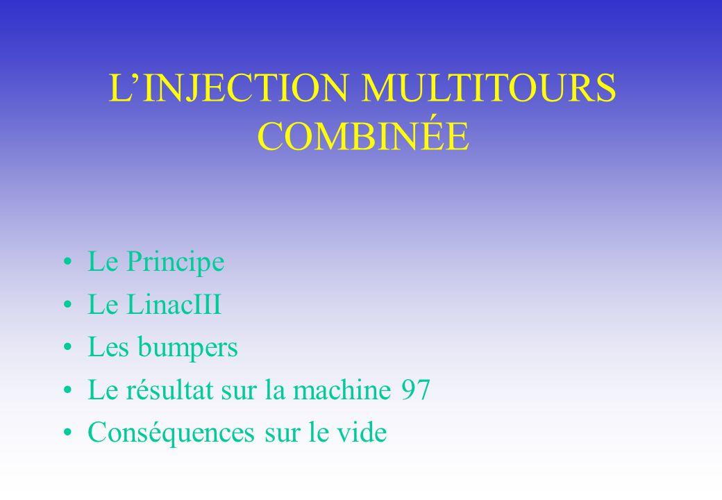 LINJECTION MULTITOURS COMBINÉE Le Principe Le LinacIII Les bumpers Le résultat sur la machine 97 Conséquences sur le vide