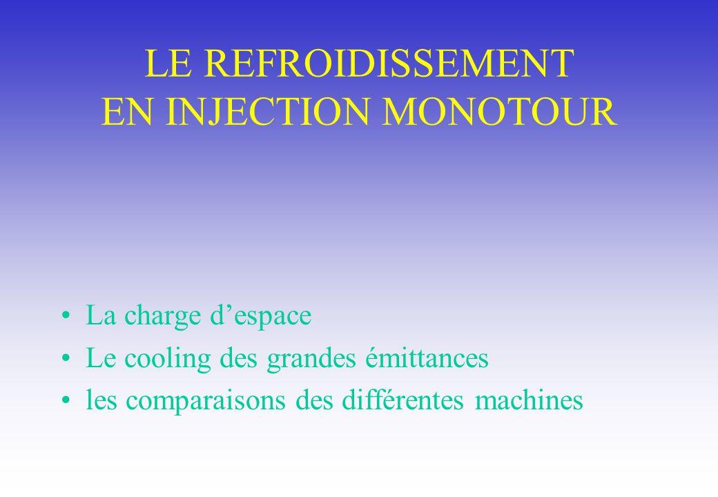 LE REFROIDISSEMENT EN INJECTION MONOTOUR La charge despace Le cooling des grandes émittances les comparaisons des différentes machines