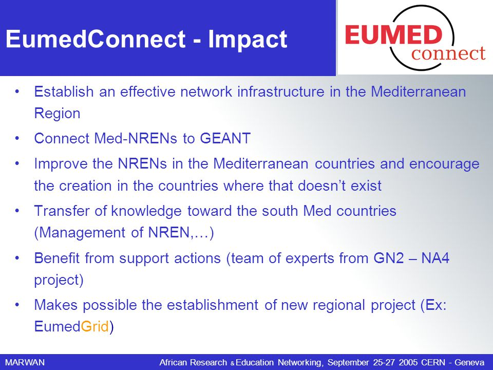 MARWANAfrican Research & Education Networking, September 25-27 2005 CERN - Geneva EumedConnect - Impact Establish an effective network infrastructure