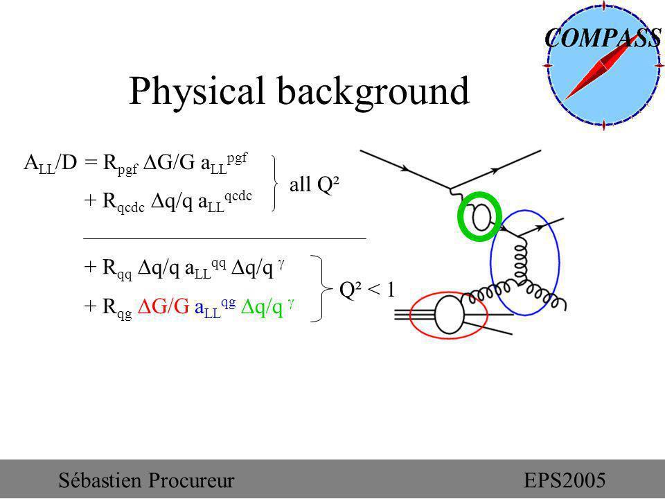 + R qg G/G a LL qg q/q Physical background A LL /D = R pgf G/G a LL pgf + R qcdc q/q a LL qcdc + R qq q/q a LL qq q/q all Q² Q² < 1 Sébastien Procureu