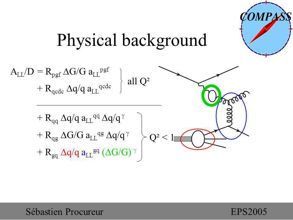 + R gq q/q a LL gq ( G/G) Physical background A LL /D = R pgf G/G a LL pgf + R qcdc q/q a LL qcdc + R qq q/q a LL qq q/q + R qg G/G a LL qg q/q all Q²