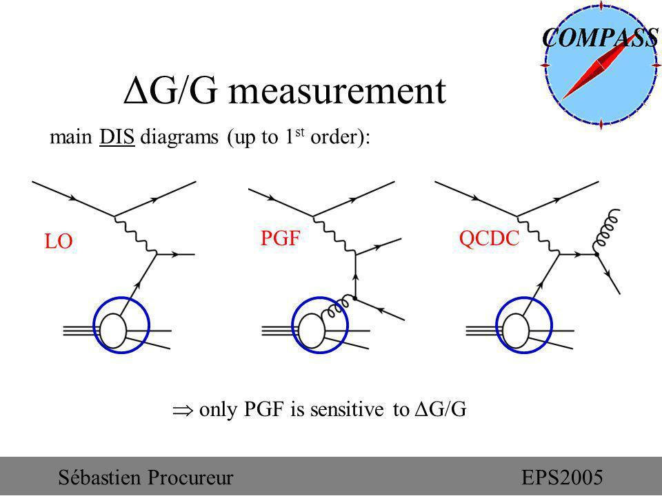 ΔG/G measurement main DIS diagrams (up to 1 st order): LO PGFQCDC only PGF is sensitive to ΔG/G Sébastien ProcureurEPS2005