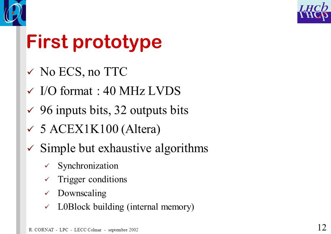 R. CORNAT - LPC - LECC Colmar - septembre 2002 12 First prototype No ECS, no TTC I/O format : 40 MHz LVDS 96 inputs bits, 32 outputs bits 5 ACEX1K100